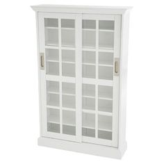 "Birch wood cabinet, 2 tempered glass door; white finish. 48.75"" H x 31.75"" W x 9.25"" D; 7 shelves; holds 536 CD's or 248 DVD's"