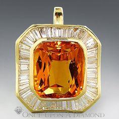 15.00ctw Huge Citrine & Baguette Diamond by OnceUponADiamond, $8850.00