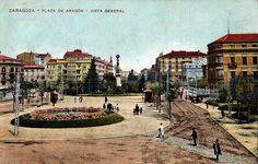 Postal coloreada de la Plaza de Aragón de Zaragoza. Estatua del Justicia de Aragón. Principios del siglo XX. 07