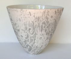 Grey and white porcelain bowl by Sandy Godwin