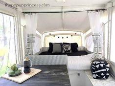 Jacque's Pop Up Camper Makeover - The Pop Up Princess(Pop Up Camping Hacks) Popup Camper Remodel, Diy Camper, Camper Ideas, Camper Hacks, Caravan Ideas, Camper Storage, Camper Life, Camper Van, Pop Up Princess