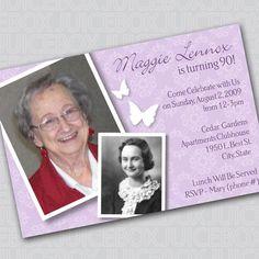 Birthday Invitation Digital Photo Card - 90th Birthday Celebration
