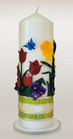 kerze zum geburtstag mit tulpen narzissen stiefm tterchen und hyazinthen und annemonen. Black Bedroom Furniture Sets. Home Design Ideas