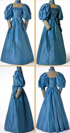 Blue silk wedding dress with lace yoke and cuffs, British (Wales), 1894. The brilliance of the blue comes from aniline dyes, which were synthetic dyes developed in 1856.