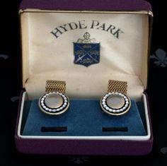 HYDE PARK Vintage Gents Gold Mesh Wraparound Cufflinks Original Box