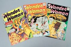 Vintage-1960s-DC-Comics-Wonder-Woman-Group-of-3-Comic-Books-incl-Wonder-Girl