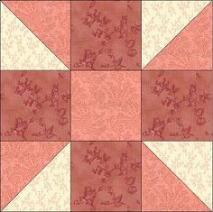 Tons of quilting blocks from DelawareQuilts.com - shown: Calico Puzzle