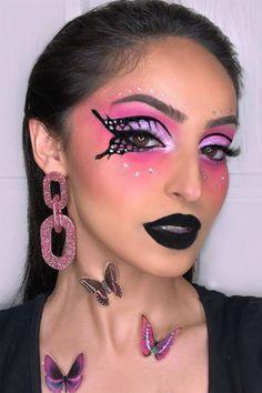Cute Makeup Looks, Makeup Eye Looks, Creative Makeup Looks, Eye Makeup Art, Crazy Makeup, Eyeshadow Makeup, Beauty Makeup, Butterfly Face Paint, Butterfly Makeup