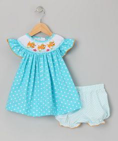 Take a look at this Turquoise Clown Fish Smocked Dress & Bloomers - Infant & Toddler by Fairies Kid on #zulily today!
