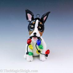 Rat Terrier Ornament with Christmas Lights Porcelain. $23.00, via Etsy.