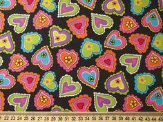 Tecido Importado 100% algodão - Corações Coloridos R$12.40