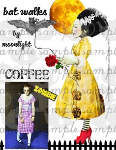 ART TEA LIFE Zombie Monster digital file Collage by onecrabapple, $3.95