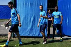 """Leonardo Bonucci of Italy (C) greets prior to the training session at """"Bernard Gasset"""" Training Center on June 9, 2016 in Montpellier, France."""