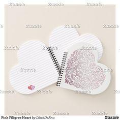Pink Filigree Heart Notebook