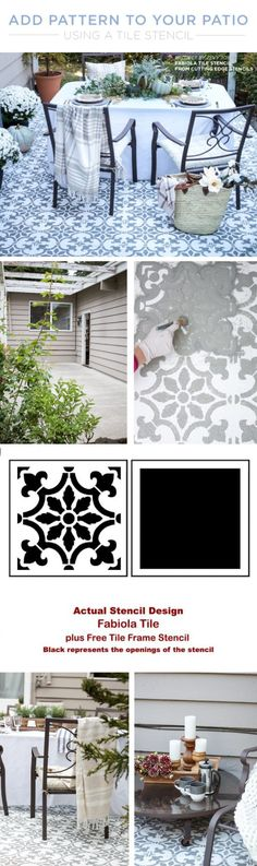 Cutting Edge Stencils shares a DIY stenciled cement patio makeover using the Fabiola Tile Stencil. http://www.cuttingedgestencils.com/fabiola-tile-stencil-spanish-portugese-tiles-stencils.html