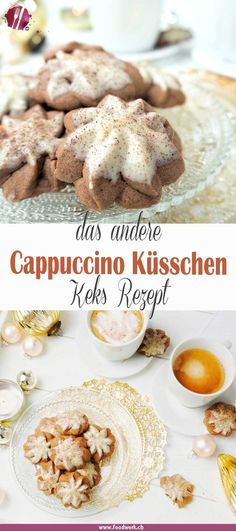 Cappucchino- Küsschen, Plätzchen Rezepte über Grenzen hinweg The delicious cappuccino kisses. With this recipe you have an alternative to the classic biscuit recipes like Zimtstern, Vanillekipferl and angel eyes. Homemade Cake Recipes, Raw Food Recipes, Fall Recipes, Cookie Recipes, Delicious Recipes, Homemade Breads, Juice Recipes, Kiss Cookie Recipe, Biscuit Recipe