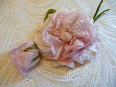 da2e08b3c31 Vintage Silk and Velvet Tender Pale Pink Blush Rose by APinkSwan Millinery  Supplies, Vintage Wedding