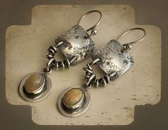 Primitive Rustic Sterling Silver Earrings & by PrivateRoad on Etsy