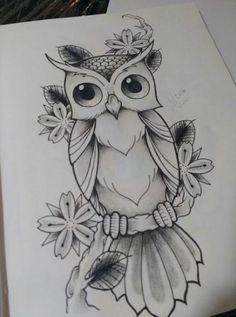 New Bird Tattoo Design Sketches Tatoo Ideas Cool Art Drawings, Pencil Art Drawings, Art Drawings Sketches, Bird Drawings, Easy Drawings, Animal Drawings, Owl Tattoo Drawings, Owl Tattoos, Cute Owl Drawing