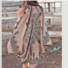 Cocoon Shawl Cardigan Cape Wrap Gorgeous light weight  henna print kimono cardigan . Perfect for layering and with denim for dresses. One size nwot Colors -black , mocha and blue  only   . 100% acrylic lightweight scarf shawl kimono . Vivacouture Accessories Scarves & Wraps
