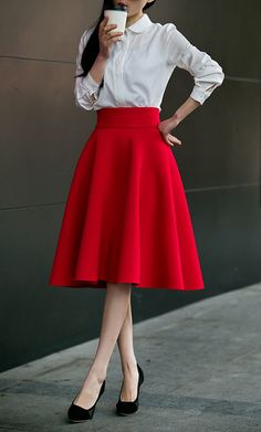 Women's Going out Street chic Plus Size Cotton A Line Skirts - Solid Colored High Waist 2019 - US $24.56