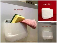 recycling: make an under-the-sink caddy out of a plastic container - LEİLA Empty Plastic Bottles, Plastic Bottle Crafts, Plastic Recycling, Plastic Containers, Upcycled Home Decor, Recycled Crafts, Diy Sponges, Sponge Holder, Under Sink
