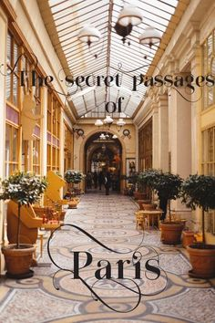 """Paris hidden gems - """"Ok, they're not really secret, more like less of a tourist trap and off the beaten track. If you're planning a visit to Paris, you must save an afternoon for a stroll along the covered passageways (passages couverts). Located in the 2nd and 9th arrondissements, around the Grands Boulevards area, they date back to the 19th century when they were supposed to allow the wealthy Parisians to shop even in bad weather conditions."""" Note: if it is raining, come here."""