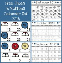 Free 2014 Shoes & Button Calender Set - 3Dinosaurs.com