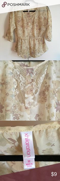Summer Blouse by Xhilaration- Size Medium Cream Blouse with a little bit of lace and a Peplum like bottom. Nice condition. Xhilaration Tops Blouses