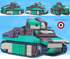 """https://flic.kr/p/qM8CsS   Lego S35 Somua French WW2 Cavalry Tank   Turret by Lego4Life, Ngoc Truong www.mocpages.com/image_zoom.php?mocid=377720&id=/user...  This is the first tank we have designed, and maybe the last!  We will pay someone usd to make us a good buildable .lxf Hotchkiss H35 tank, or Panhard AMD 178 armored car, or Schneider AMC P16 halftrack for animation.  Unfortunately """"good"""" and """"buildable"""" are subjective!  full movie at youtu.be/8wKWJY2M9FE"""