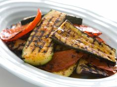 Grilled Peppers, Eggplant & Zucchini with Lemon-Harissa Dressing - Barbecue Babes Grilled Peppers, Grilled Fruit, Grilled Vegetables, Grilled Zucchini, Grilled Pizza, Grilled Lamb, Root Vegetables, Eggplant Zucchini, Grilled Eggplant