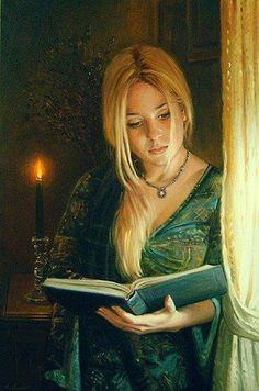 Emmanuel Garant,- Woman Reading, Standing w Candle 1953 Woman Reading, Character Portraits, Fantasy Art, Painting, Female Art, Reading Art, Pictures, Portrait, Book Art