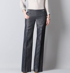 Petite Marisa Sailor Front Trouser Leg Pants in Linen/Cotton Trouser Pants, Wide Leg Trousers, Spring Fashion Casual, Autumn Fashion, Linen Pants Outfit, Tall Pants, Love Jeans, Cute Outfits, Work Outfits