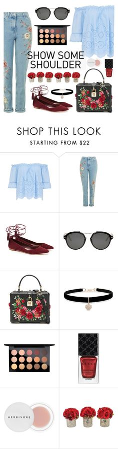 """Shimmy, Shimmy: Off Shoulder Tops"" by dora04 on Polyvore featuring Loeffler Randall, Christian Dior, Dolce&Gabbana, Betsey Johnson, MAC Cosmetics, Gucci, Herbivore and The French Bee"