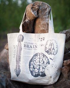 Anatomical Brain Vintage Illustration Tote Bag