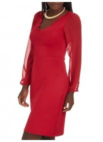 STYLE REPUBLIC | Scalloped Bodycon Dress Red