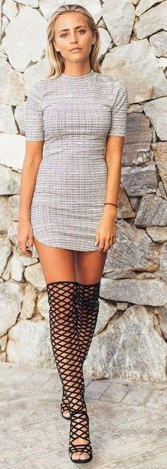 #summer #feminine #dressup   Little Grey Dress