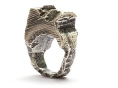 Sterling silver carved ring by Alice Waese.