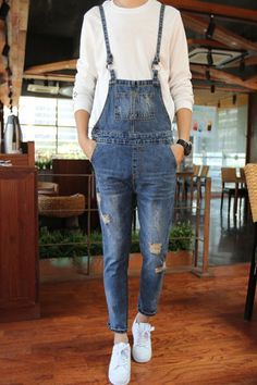 Holes Cat's Whisker Design Narrow Feet Nine Minutes of Denim Overalls For Men