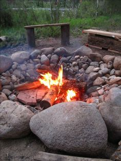 Large outdoor firepit next to the lake