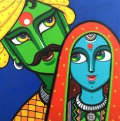 Turn your home into a gallery with exquisite art by Gouri Shirish Velhal. Buy curated original paintings, sculptures and gallery quality prints by world's artists. Poster Color Painting, Mural Painting, Fabric Painting, Diy Painting, Painting Abstract, Fabric Art, Rajasthani Painting, Rajasthani Art, Madhubani Art