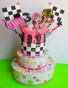 RACING CARS FOR GIRLS BIRTHDAY CAKE TOPPER