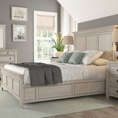 Darby Home Co Chehalis Storage Platform Bed Colour: Antique White, Size: Queen Bedroom Layouts, Bedroom Sets, Bedroom Decor, Master Bedrooms, Bedroom Inspo, Girls Bedroom, Bedroom Retreat, Bedroom Curtains, Bedroom Plants