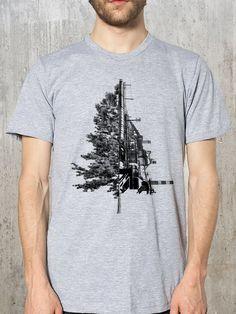 Men's T-Shirt - Tree & Industrial Landscape