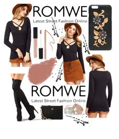 """ROMWE: Win! Black Criss-Cross Front T-Shirt"" by mandimwpink ❤ liked on Polyvore featuring Dolce&Gabbana, Tory Burch, Bobbi Brown Cosmetics, Forever 21 and Charlotte Tilbury"