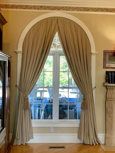 Arched Window Coverings, Curtains For Arched Windows, Dining Room Drapes, Curtains Living, Bedroom Bed Design, Moldings And Trim, Custom Window Treatments, Window Design, Simple House