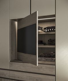 Lacquered wardrobe with drawers EMOTION UP Emotion up Collection By Dall'Agnese - Home Theater Wardrobe Wall, Wardrobe Drawers, Wardrobe Design Bedroom, Bedroom Cupboard Designs, Bedroom Cupboards, Wardrobe Doors, Modern Wardrobe, Modern Master Bedroom, Tv In Bedroom