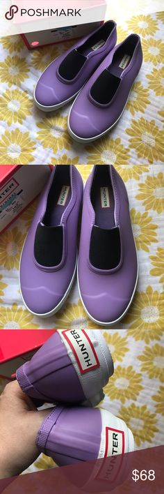 Hunter purple shoes loafers Fantastic shoes! New but do have mild dirt on soles from store try ons and a couple small marks. Retail $115 size marked as US 9 EU 40- I do not have lid to box. Might or might not ship in this box. Hunter Shoes Flats & Loafers