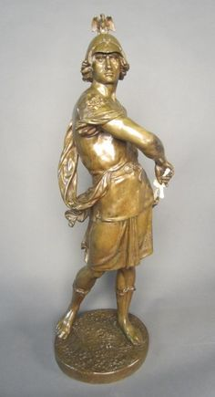 Bronze Soldier With Ivory Sword, Signed: E. Piccault - French  c.1833-1915