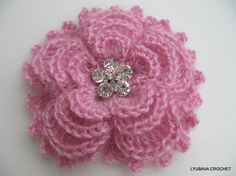 Instant Download PDF Crochet Pattern Mohair Brooch Flower 5 Petals 4 Layers, PDF Crochet 3D Flower Brooch, Lyubava Crochet Pattern number 84